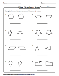 Write slide, flip or turn: Shapes