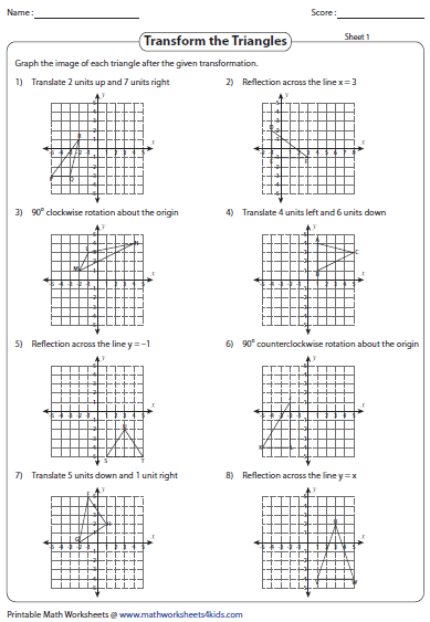 transformation worksheets  reflection translation rotation transformation of triangles