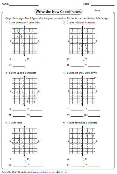 translation worksheets writing coordinates graph
