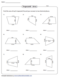 Area of Trapezoids | Decimals