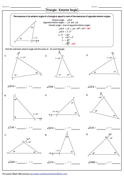 Worksheets Exterior Angles Of A Triangle Worksheet triangles worksheets missing exterior angles