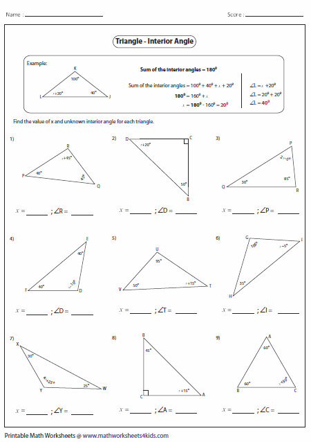 Printables Interior And Exterior Angles Worksheet triangles worksheets missing interior angles