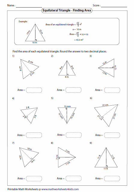Printables Area Of A Triangle Worksheet triangles worksheets area of equilateral triangle