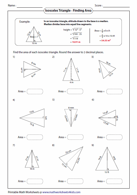Printables Area Of A Triangle Worksheet triangles worksheets area of an isosceles triangle