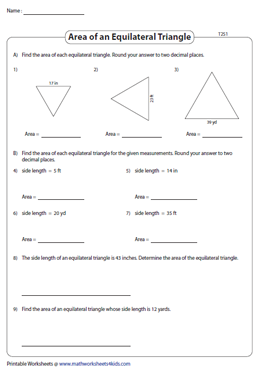 Area of Equilateral Triangles | Integers - Type 2