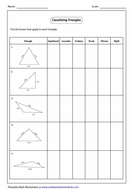 Triangle Worksheets For 5th Grade: Triangles Worksheets,