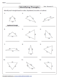Classifying Triangles Based On Sides And Angles Worksheets
