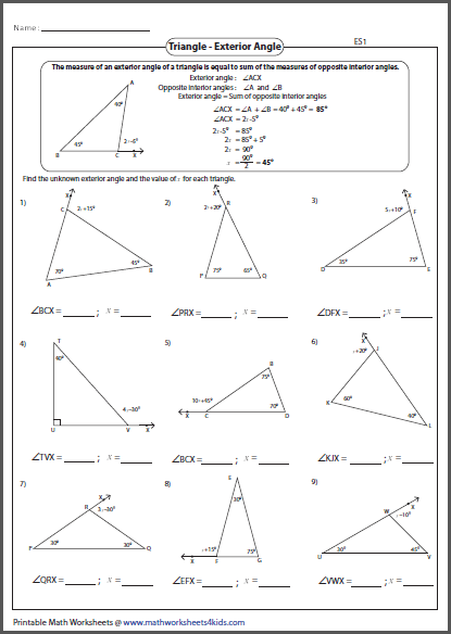 Math Worksheets Multiplication Facts Exterior Angle Theorem Math Best Free Printable Worksheets