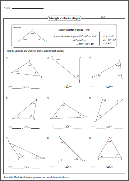 Triangle Interior Angles Worksheet Image Of