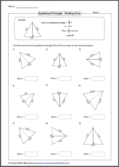 Area of rectangle and triangle worksheet pdf