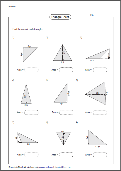 Area and perimeter of triangles worksheet 6th grade