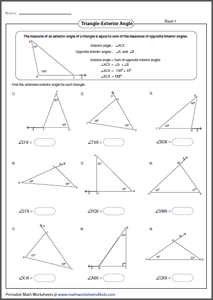 interior and exterior angles of triangles worksheets sewdarncute. Black Bedroom Furniture Sets. Home Design Ideas