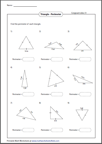 Area of triangle worksheet