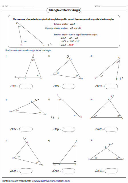 Printables Interior And Exterior Angles Worksheet triangles worksheets finding exterior angle