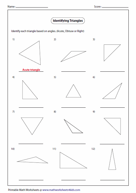Worksheets Acute Obtuse And Right Angles Worksheets triangles worksheets triangle classification based on angles