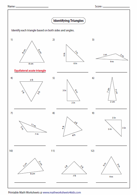 Printables Classifying Triangles Worksheet triangles worksheets identifying types of triangles