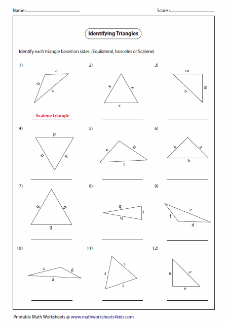Printables Classifying Triangles Worksheet triangles worksheets triangle classification based on sides