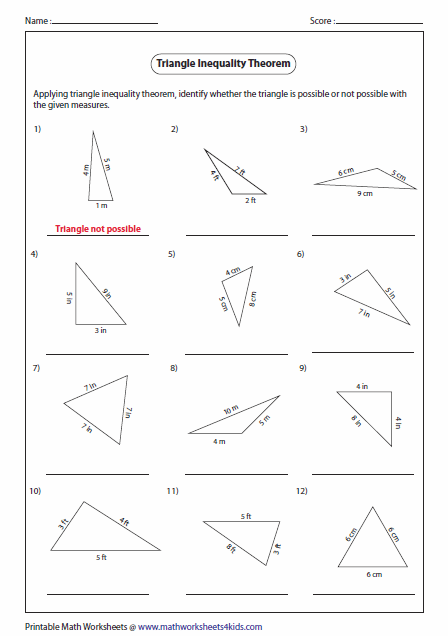 Printables Area Of A Triangle Worksheet triangles worksheets triangle inequality theorem