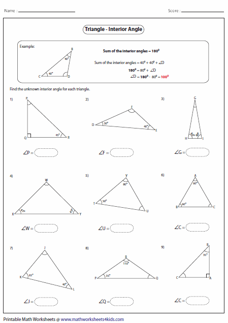 Exterior Angle Theorem Worksheet: Triangles Worksheets,