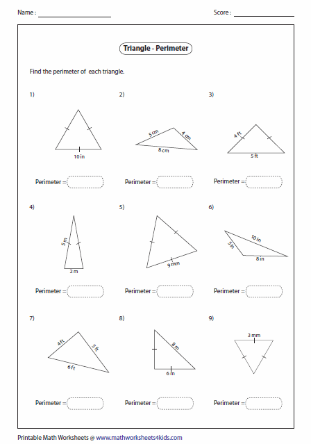Worksheets Area Of Triangle Worksheets triangles worksheets perimeter with congruent sides