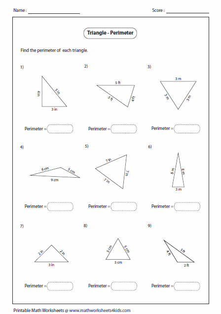 Printables Area Of A Triangle Worksheet triangles worksheets finding perimeter