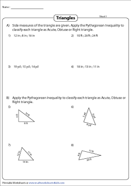 Classifying Triangles | Pythagorean Inequality | Word Format