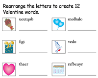 Valentine's Day Word Scramble