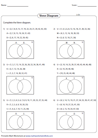 Venn Diagram Set Operations Worksheets Morenpulsar