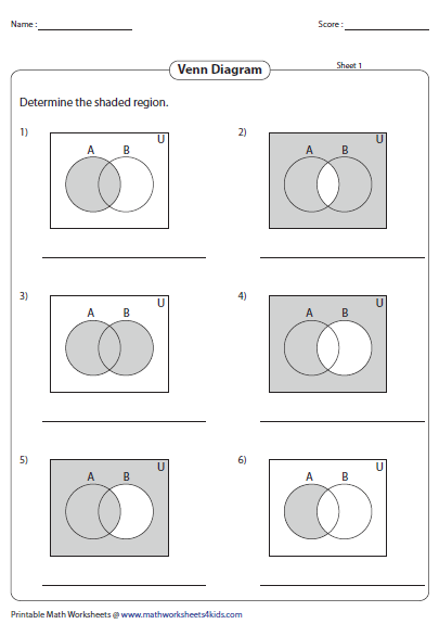 Venn diagram worksheets sheet 1 ccuart Images