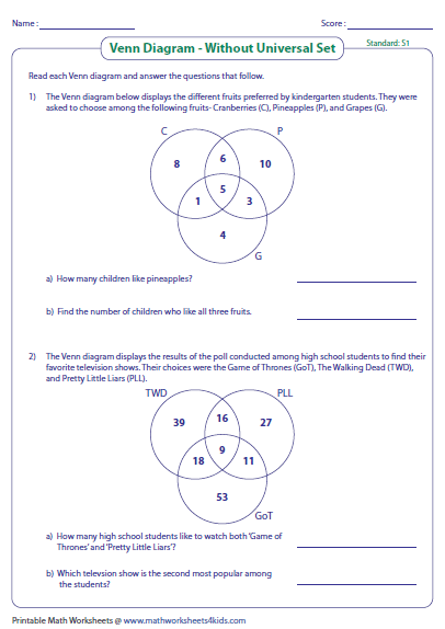 Venn Diagram Word Problems Worksheets: Three Sets