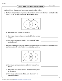 Venn diagram word problems worksheets two sets standard with universal set ccuart Gallery