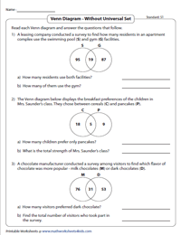 standard without universal set preview venn diagram word problems worksheets two sets