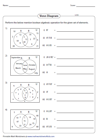 Venn diagram worksheets preview ccuart Images