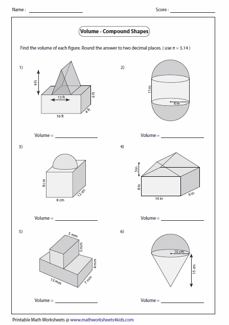 Worksheets Composite Shapes Worksheet volume worksheets of compound shapes