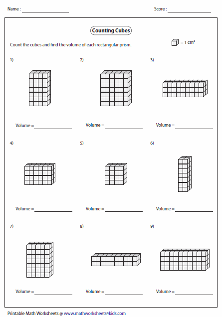Worksheets Volume Counting Cubes Worksheet volume worksheets