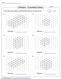 Volume by Counting Cubes Worksheets
