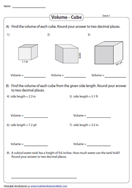 Volume of Cubes | Decimals