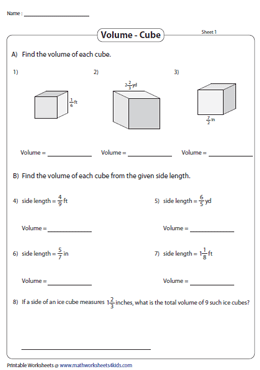 Volume of Cubes | Fractions