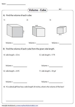 Volume of Cubes | Integers - Moderate