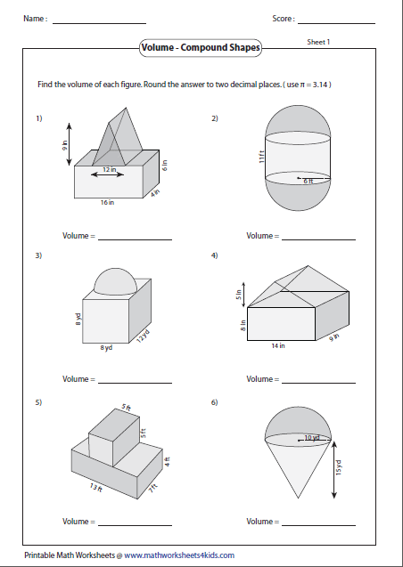 math worksheet : volume worksheets : Composite Figures Area Worksheet