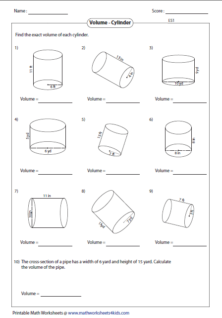 volume worksheets cylinders