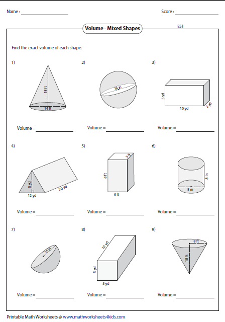volume of solids worksheet wiildcreative. Black Bedroom Furniture Sets. Home Design Ideas