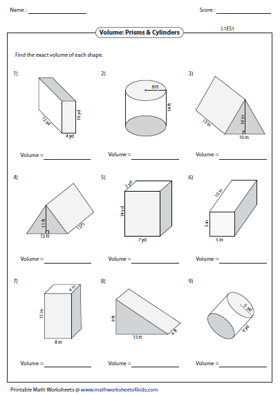 Volume Of Prisms And Cylinders Worksheet - resultinfos