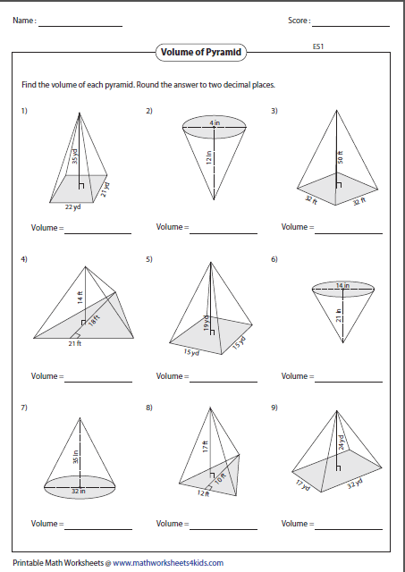 math worksheets volume of cone kidz activities. Black Bedroom Furniture Sets. Home Design Ideas