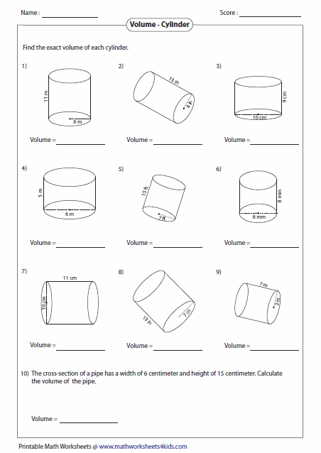 Printables Area And Volume Worksheets volume worksheets of cylinders
