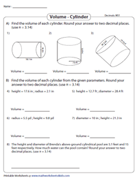 Volume of a Cylinder | Decimals - Moderate