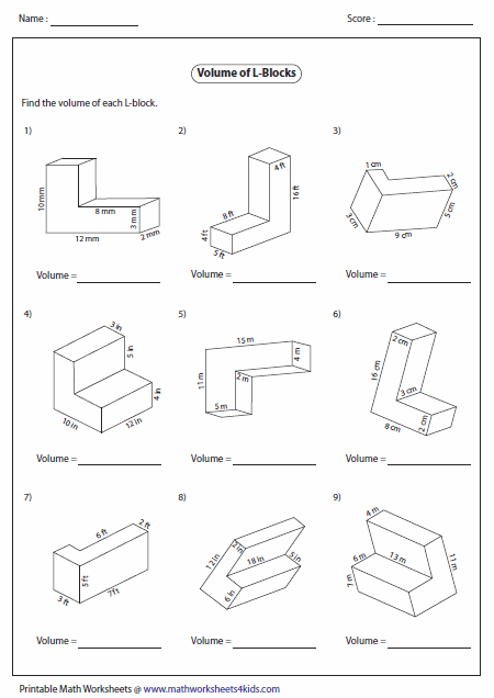 Printables Area And Volume Worksheets volume worksheets of rectangular blocks