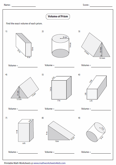 Printables Area And Volume Worksheets volume worksheets of prisms level 1