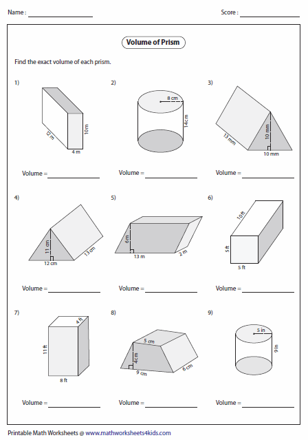 Printables Volume Of Pyramid Worksheet volume worksheets of prisms level 2