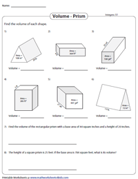 Volume of a Prism Worksheets | Mixed Prisms